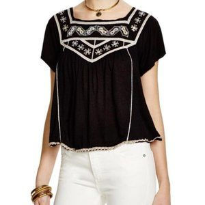 Free People Muse Embroidered Peasant Top Blouse